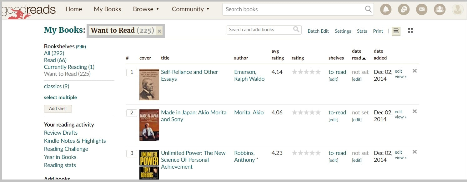 Goodreads Want to read